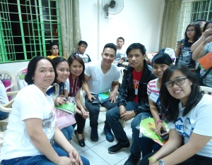 Small group sharing. On my right is Niel, a student studying to become a seaman. On my left is Czarina, a graduating high school student.